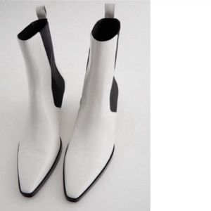 Zara Leather Cowboy White Ankle Boots